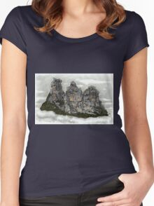III Three Sisters Blue Mountains Colour Pencil Drawing Women's Fitted Scoop T-Shirt