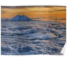 Sunset on Rainier  Poster