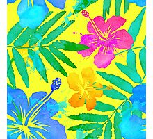 Vivid colors watercolor tropical flowers Photographic Print