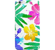 Vivid colors bright tropical flowers watercolor pattern iPhone Case/Skin
