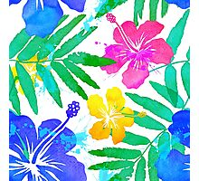 Vivid colors bright tropical flowers watercolor pattern Photographic Print