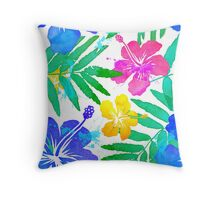 Vivid colors bright tropical flowers watercolor pattern Throw Pillow