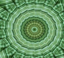 Green Stripes Kaleidoscope 11 by Christopher Johnson