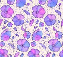 Beautiful violet flowers pattern by 1enchik