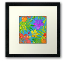 Bright watercolor tropical flowers Framed Print