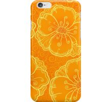 Ornate orange flowers pattern iPhone Case/Skin