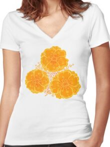 Ornate orange flowers pattern Women's Fitted V-Neck T-Shirt