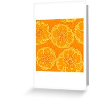 Ornate orange flowers pattern Greeting Card