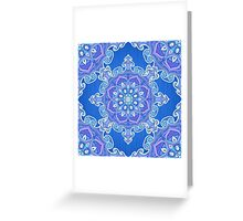 Ornate blue waves pattern Greeting Card