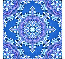 Ornate blue waves pattern Photographic Print