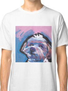 Morkie Maltese yorkie Dog Bright colorful pop dog art Classic T-Shirt