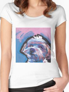 Morkie Maltese yorkie Dog Bright colorful pop dog art Women's Fitted Scoop T-Shirt
