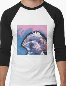 Morkie Maltese yorkie Dog Bright colorful pop dog art Men's Baseball ¾ T-Shirt