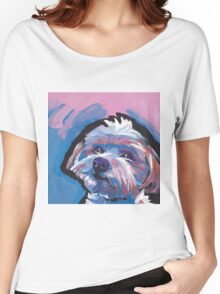 Morkie Maltese yorkie Dog Bright colorful pop dog art Women's Relaxed Fit T-Shirt
