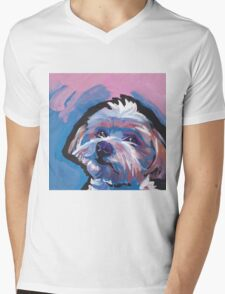 Morkie Maltese yorkie Dog Bright colorful pop dog art Mens V-Neck T-Shirt