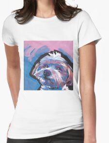 Morkie Maltese yorkie Dog Bright colorful pop dog art Womens Fitted T-Shirt