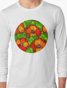 Decorative ornate poppy flowers pattern Long Sleeve T-Shirt