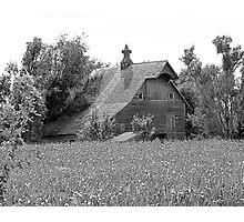 Black and white of old barn in Nebraska Photographic Print