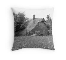 Black and white of old barn in Nebraska Throw Pillow