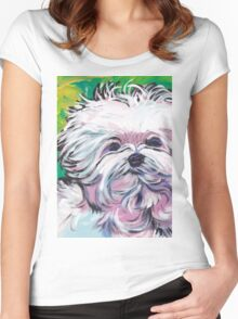 Maltese Dog Bright colorful pop dog art Women's Fitted Scoop T-Shirt