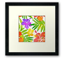 Bright tropical flowers vector summer bouquet Framed Print