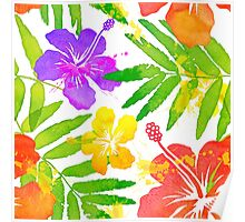 Bright tropical flowers vector summer bouquet Poster