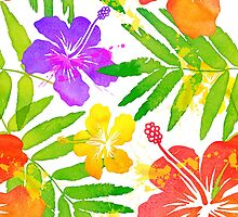 Bright tropical flowers vector summer bouquet by 1enchik