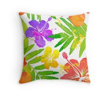 Bright tropical flowers vector summer bouquet Throw Pillow