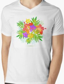 Bright tropical flowers vector summer bouquet Mens V-Neck T-Shirt