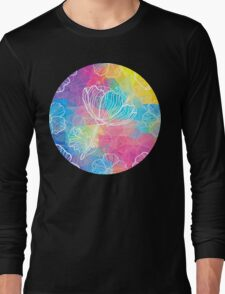 Rainbow triangles with white flowers Long Sleeve T-Shirt