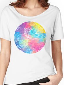 Rainbow triangles with white flowers Women's Relaxed Fit T-Shirt