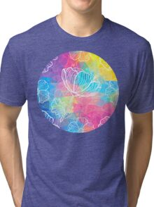 Rainbow triangles with white flowers Tri-blend T-Shirt