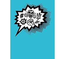 COMIC Curses, Skull, Speech Bubble, Comic Book Explosion, Cartoon Photographic Print