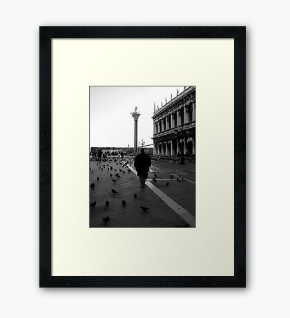 Just him and the birds....... Framed Print