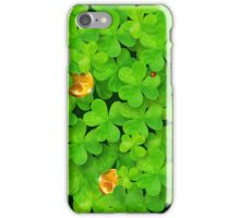 Saint Patrick's clovers pattern with golden coins and ladybugs iPhone Case/Skin