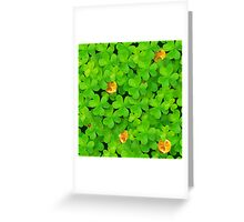 Saint Patrick's clovers pattern with golden coins and ladybugs Greeting Card