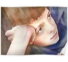 Watching TV, watercolor on paper Poster