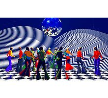 The Hippy(girls with big hips), Hippie Chick(girls who were hippies), at a Bellbottom, Discoball, Retro, Ex-Krishna Member Dance! Photographic Print