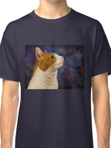 Cute Brown and White Furry Cat Looking to Right Classic T-Shirt