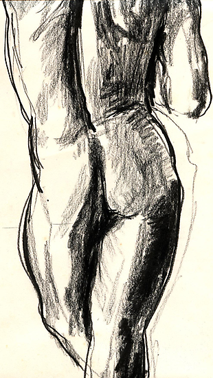 Sketch in  charcoal of a nude male model   2232 views @ Nov 6 2009 by mklau