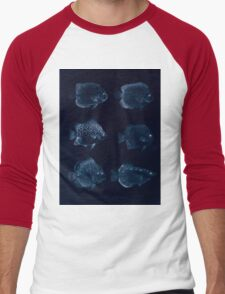 The fishes of India by Francis Day 027 - Inverted - Holacanthus Annularis, H Xanthurus, Scatophagus Argus, Ephippus Orbis, Drepane Punctata, Toxotes Chatareus Men's Baseball ¾ T-Shirt