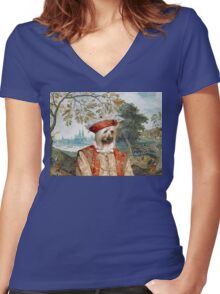 Silky Terrier Art -View in castle Women's Fitted V-Neck T-Shirt