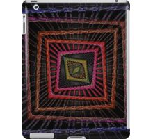 Kaleidoscopic Squares in multiple Colors on Black Background iPad Case/Skin