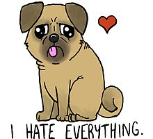 I Hate Everything - Derpy Pug by Mochni