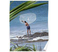 Fisherman throwing net Poster