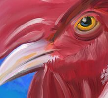 Here Comes the Rooster - Digital Paint of a Red Rooster Sticker