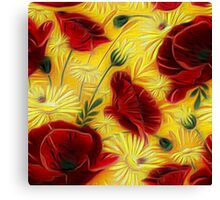 Painted Poppies and Daisies Canvas Print