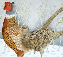 Pheasants in the snow by aquartistic