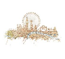London skyline Maps Big Ben Photographic Print