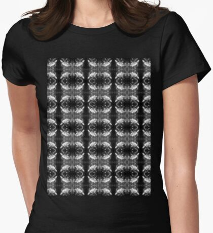 apple blossoms #3, black and white pattern Womens Fitted T-Shirt